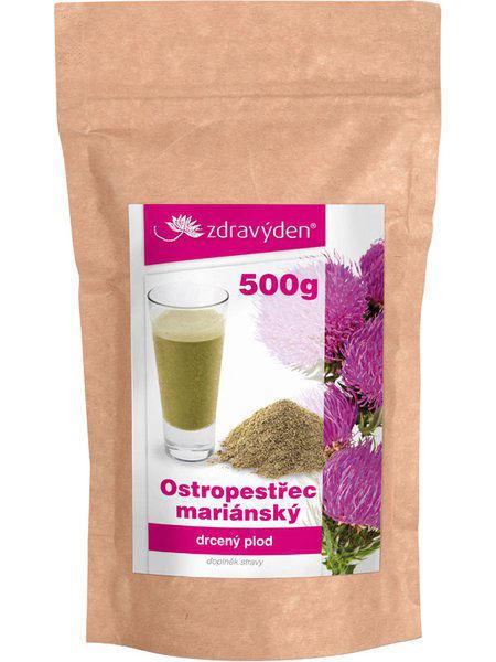 Obrázek Ostropestřec mariánský - drcený plod 500 g ZDRAVÝ DEN