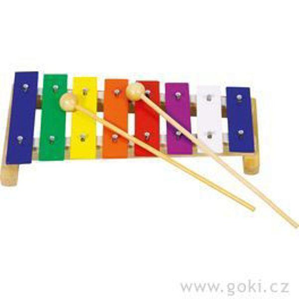 Obrázek Xylofon barevný, 8 tónů, 27 cm GOKI