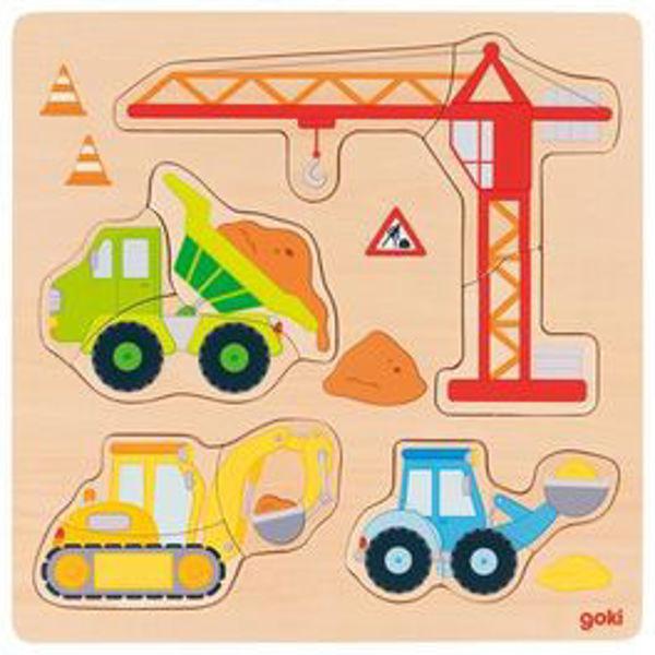 Obrázek Stavební auta – vkládací puzzle Goki