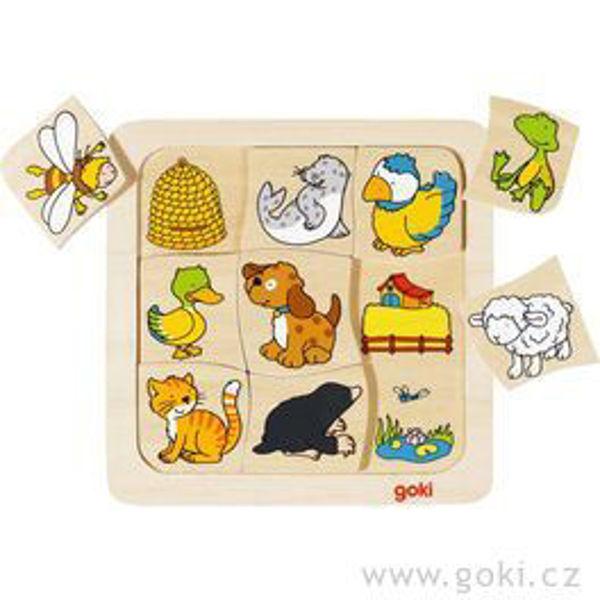 Obrázek Dřevěné puzzle - Kdo kde bydlí? Goki