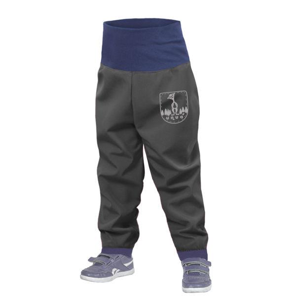 Obrázek Batolecí softshellové kalhoty bez zateplení SLIM, Tmavě šedá Unuo