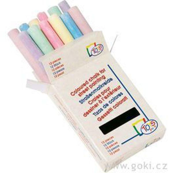 Obrázek Školní barevné kulaté křídy 12 ks Goki