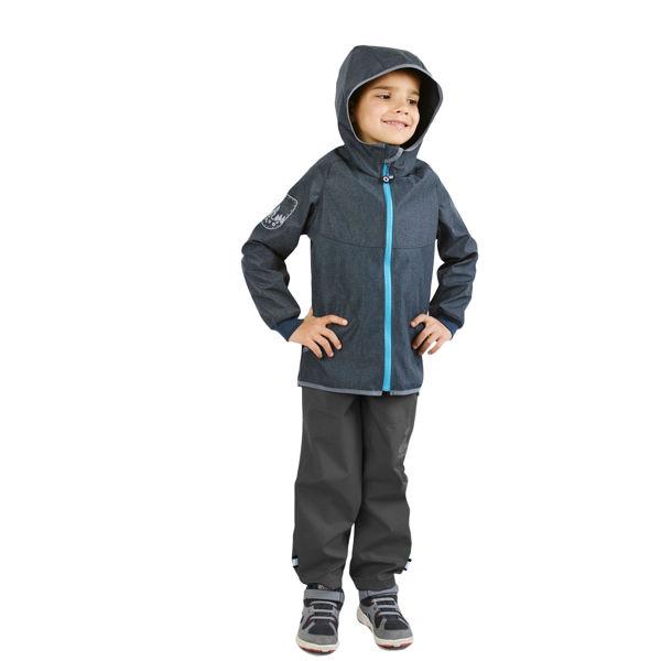Obrázek Dětské softshellové kalhoty bez zateplení, Tmavě šedá Unuo