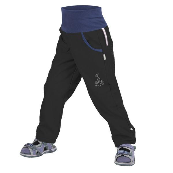 Obrázek Dětské softshellové kalhoty bez zateplení, Černá Unuo