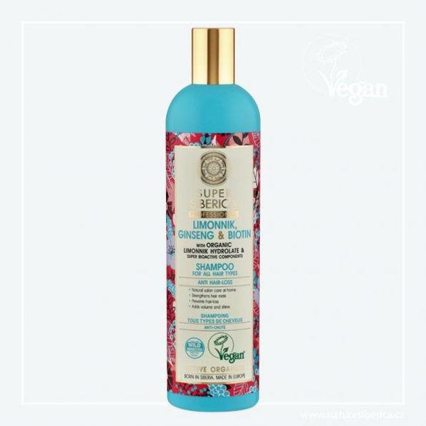 Obrázek Super Siberica Klanopraška, ženšen a biotin šampon pro všechny typy vlasů 400 ml NATURA SIBERICA