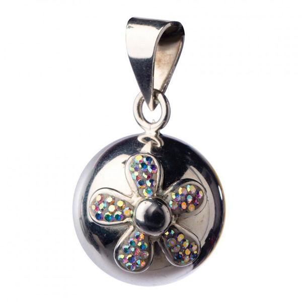 Obrázek Těhotenský šperk Bola silver with glitter flower BABYLONIA