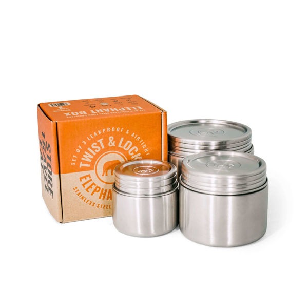 Obrázek Nerezový těsnící box na jídlo se šroubovacím víčkem, set 3 ks Elephant Box